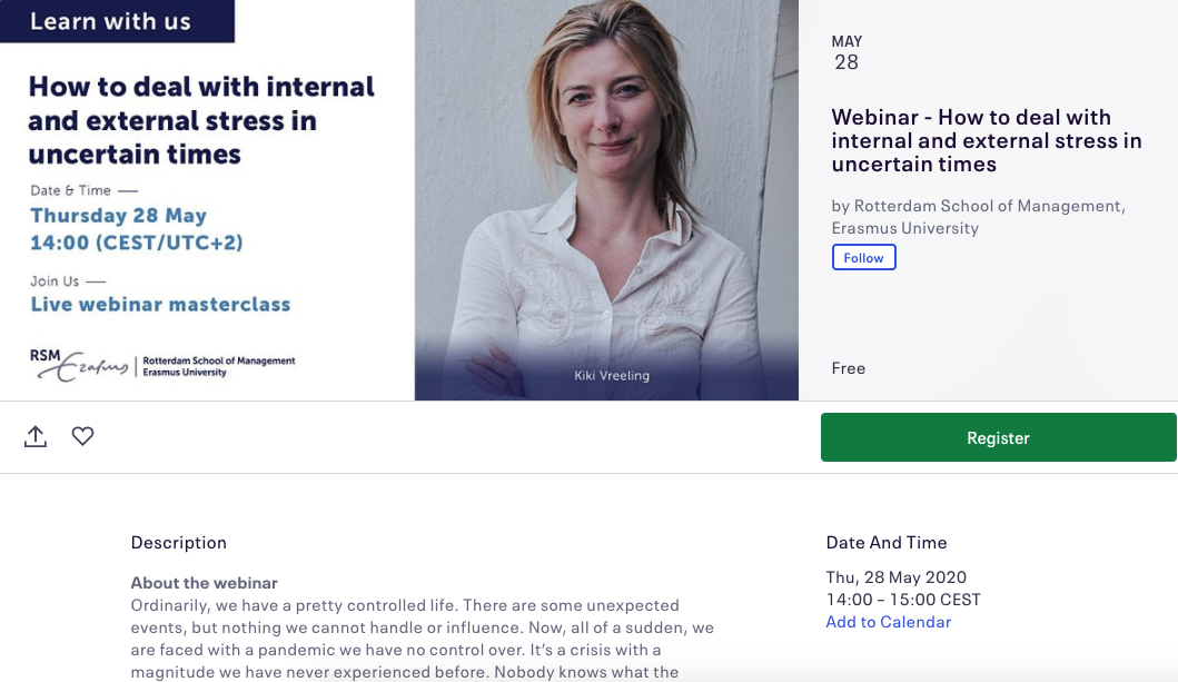 Free live webinar masterclass on managing stress